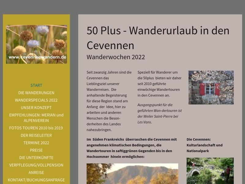 Screenshot von www.50plus-wanderreisen.de